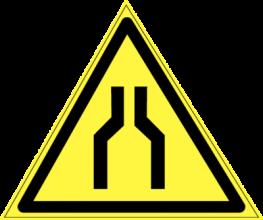 На автомобиль Наклейка «W-30 Осторожно. Сужение проезда (проxода)»Предупреждающие<br><br>