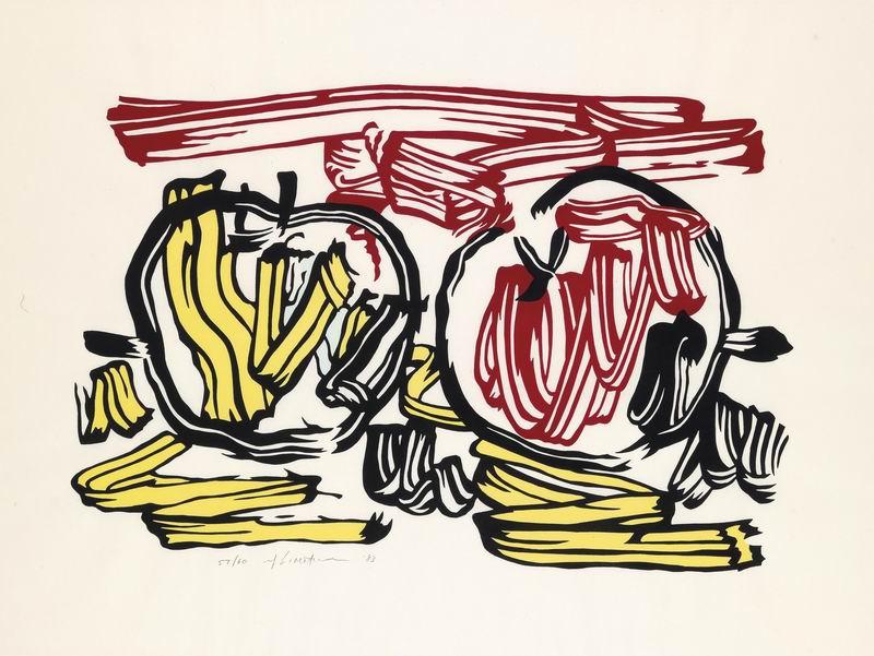 Лихтенштейн Рой, картина Красное яблоко и желтое яблокоЛихтенштейн Рой<br>Репродукция на холсте или бумаге. Любого нужного вам размера. В раме или без. Подвес в комплекте. Трехслойная надежная упаковка. Доставим в любую точку России. Вам осталось только повесить картину на стену!<br>