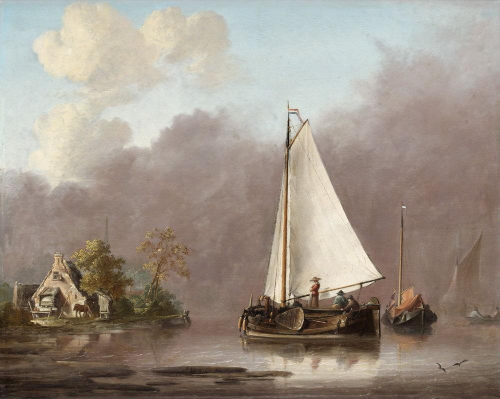 Пейзаж морской Ос Георг Якоб Иоганн, Голландский пейзаж реки с людьми на лодкахПейзаж морской<br>Репродукция на холсте или бумаге. Любого нужного вам размера. В раме или без. Подвес в комплекте. Трехслойная надежная упаковка. Доставим в любую точку России. Вам осталось только повесить картину на стену!<br>