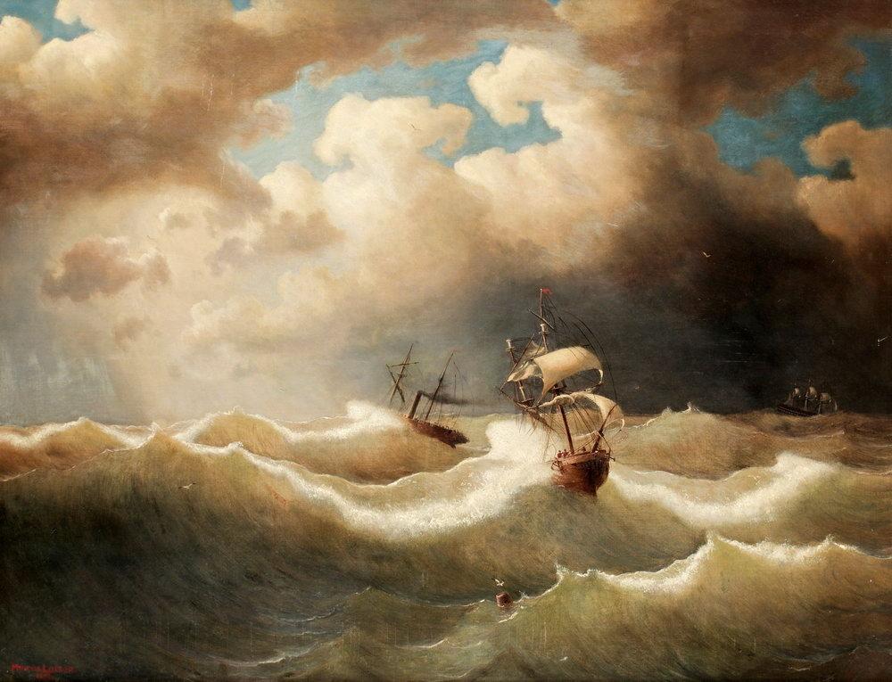 Пейзаж морской Ларсон. Морской пейзаж со штормом и кораблемПейзаж морской<br>Репродукция на холсте или бумаге. Любого нужного вам размера. В раме или без. Подвес в комплекте. Трехслойная надежная упаковка. Доставим в любую точку России. Вам осталось только повесить картину на стену!<br>