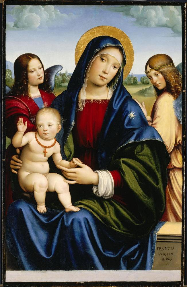 Мадонна с младенцем - живопись, картина Франческо Франча. Мадонна с младенцем и двумя ангеламиМадонна с младенцем - живопись<br>Репродукция на холсте или бумаге. Любого нужного вам размера. В раме или без. Подвес в комплекте. Трехслойная надежная упаковка. Доставим в любую точку России. Вам осталось только повесить картину на стену!<br>