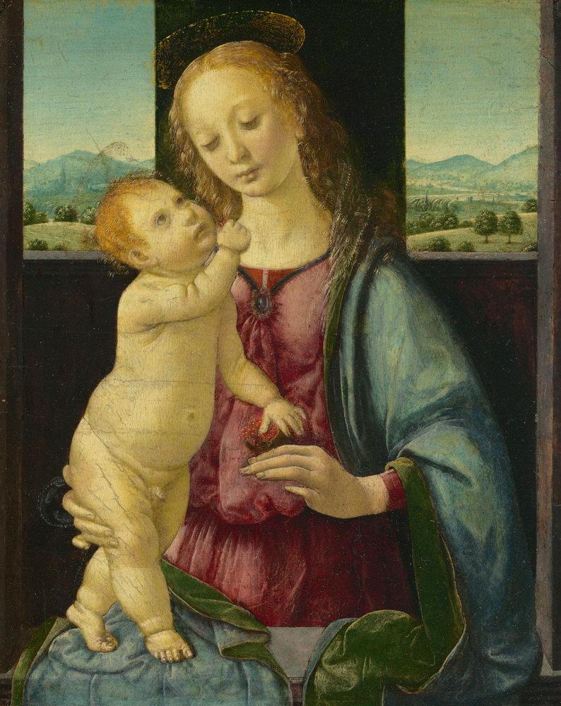 Мадонна с младенцем - живопись, картина Леонардо да Винчи. Мадонна с гранатомМадонна с младенцем - живопись<br>Репродукция на холсте или бумаге. Любого нужного вам размера. В раме или без. Подвес в комплекте. Трехслойная надежная упаковка. Доставим в любую точку России. Вам осталось только повесить картину на стену!<br>