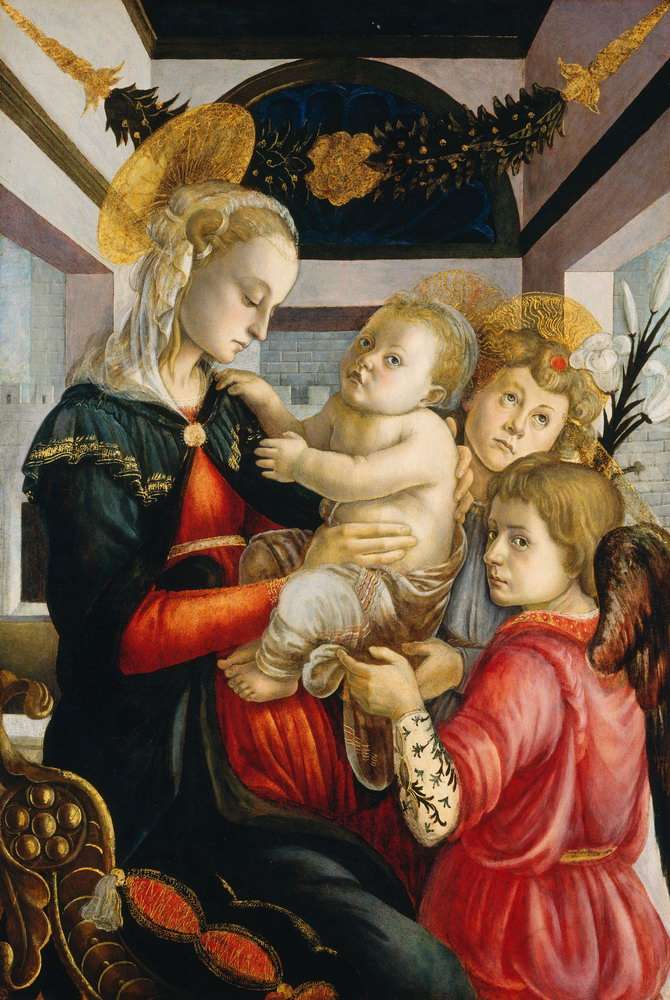 Мадонна с младенцем - живопись, картина Боттичелли. Мадонна с младенцем и ангеламиМадонна с младенцем - живопись<br>Репродукция на холсте или бумаге. Любого нужного вам размера. В раме или без. Подвес в комплекте. Трехслойная надежная упаковка. Доставим в любую точку России. Вам осталось только повесить картину на стену!<br>