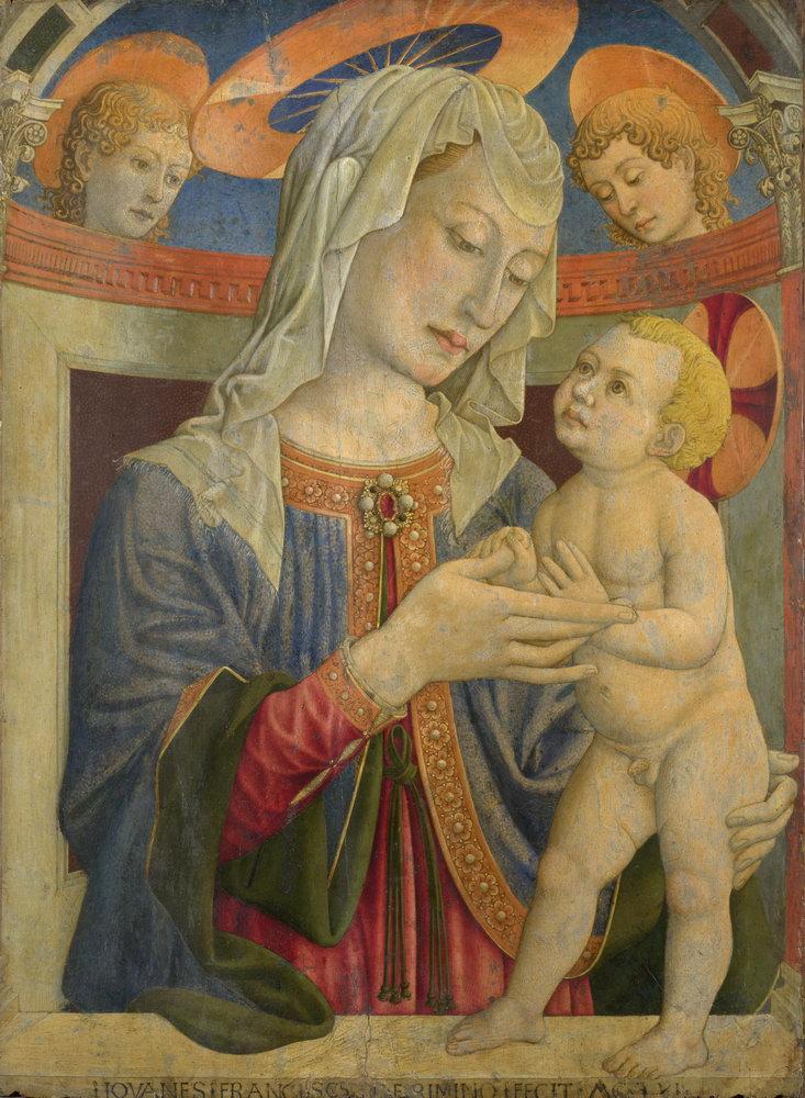 Мадонна с младенцем - живопись, картина Римини. Мадонна с младенцем и двумя ангеламиМадонна с младенцем - живопись<br>Репродукция на холсте или бумаге. Любого нужного вам размера. В раме или без. Подвес в комплекте. Трехслойная надежная упаковка. Доставим в любую точку России. Вам осталось только повесить картину на стену!<br>