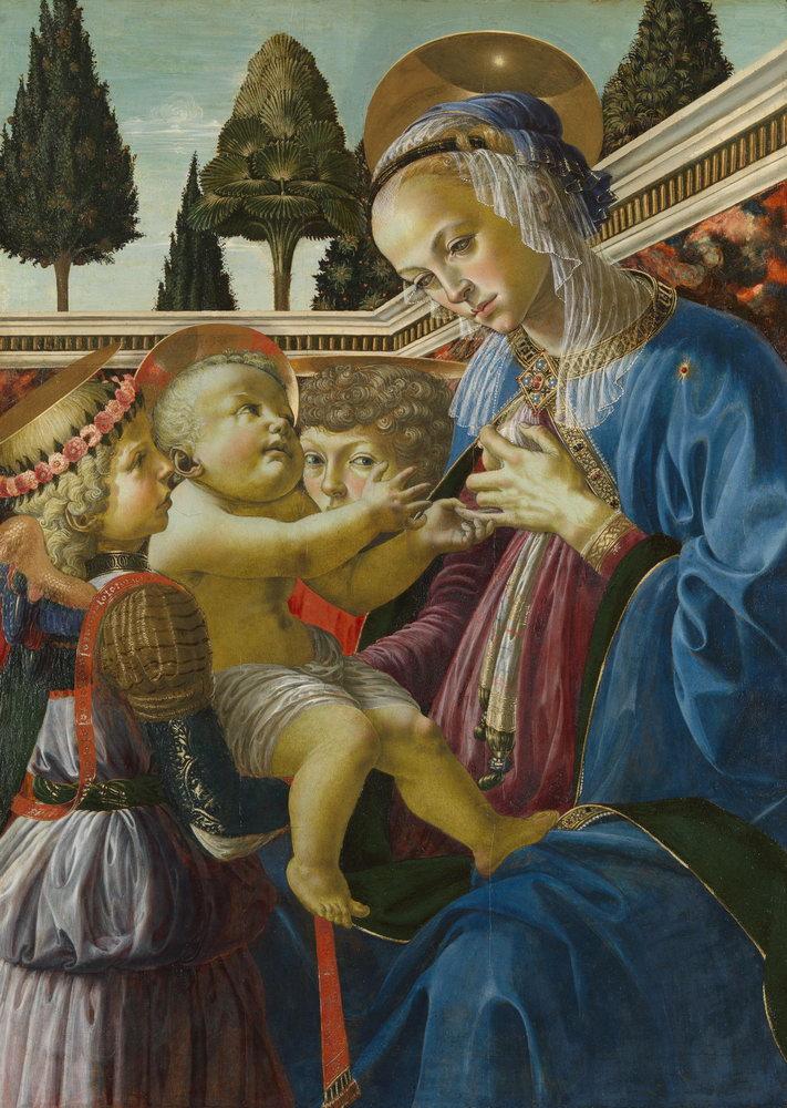 Мадонна с младенцем - живопись, картина Верроккьо. Мадонна с младенцем и двумя ангелами (арт. Mm3387)Мадонна с младенцем - живопись<br>Репродукция на холсте или бумаге. Любого нужного вам размера. В раме или без. Подвес в комплекте. Трехслойная надежная упаковка. Доставим в любую точку России. Вам осталось только повесить картину на стену!<br>