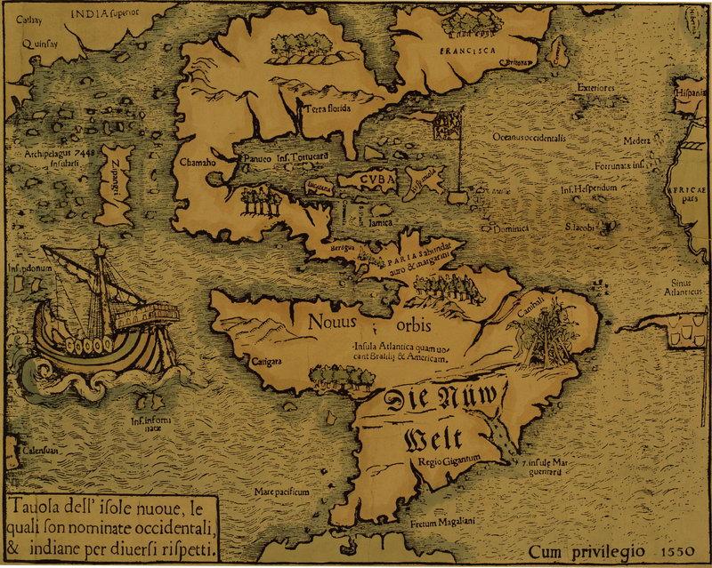 Старинные карты, картина Карта Северной и Южной Америки (1550)Старинные карты<br>Репродукция на холсте или бумаге. Любого нужного вам размера. В раме или без. Подвес в комплекте. Трехслойная надежная упаковка. Доставим в любую точку России. Вам осталось только повесить картину на стену!<br>