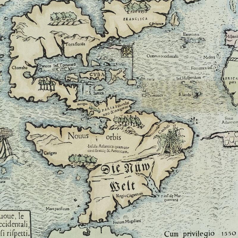 Постер Старинные карты Северная и Южная Америка (1550) (арт. 2516)Старинные карты<br>Постер на холсте или бумаге. Любого нужного вам размера. В раме или без. Подвес в комплекте. Трехслойная надежная упаковка. Доставим в любую точку России. Вам осталось только повесить картину на стену!<br>