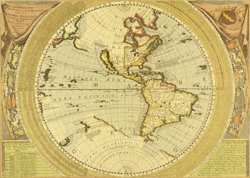Старинные карты, картина Карта Северной и Южной Америки (17-й век)Старинные карты<br>Репродукция на холсте или бумаге. Любого нужного вам размера. В раме или без. Подвес в комплекте. Трехслойная надежная упаковка. Доставим в любую точку России. Вам осталось только повесить картину на стену!<br>