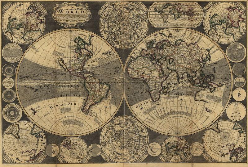 Постер Старинные карты Карта мира (1702)Старинные карты<br>Постер на холсте или бумаге. Любого нужного вам размера. В раме или без. Подвес в комплекте. Трехслойная надежная упаковка. Доставим в любую точку России. Вам осталось только повесить картину на стену!<br>