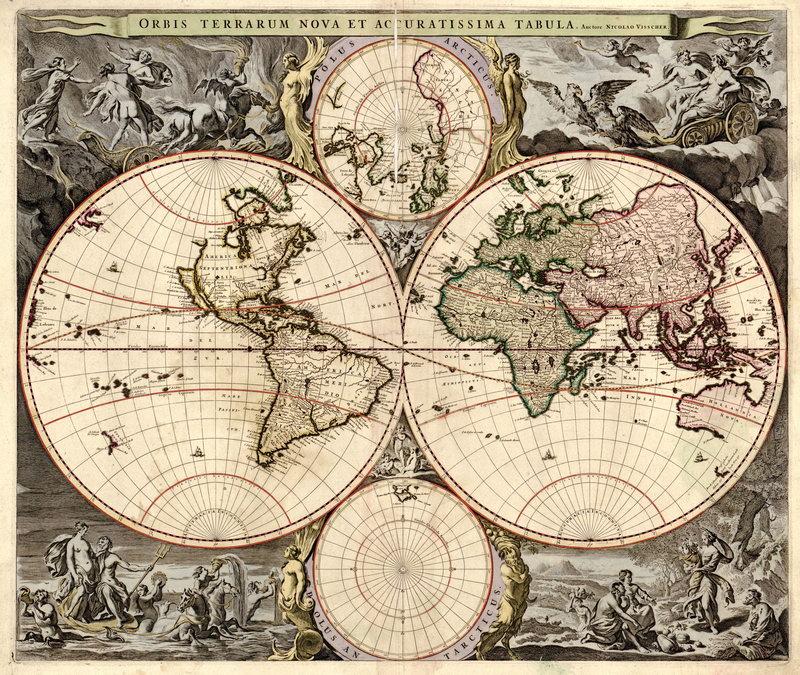 Старинные карты, картина Вишер. Карта мира (17-й век)Старинные карты<br>Репродукция на холсте или бумаге. Любого нужного вам размера. В раме или без. Подвес в комплекте. Трехслойная надежная упаковка. Доставим в любую точку России. Вам осталось только повесить картину на стену!<br>