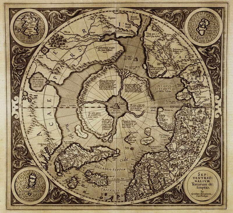 Постер Старинные карты Меркатор Герард, Карта Северного полюсаСтаринные карты<br>Постер на холсте или бумаге. Любого нужного вам размера. В раме или без. Подвес в комплекте. Трехслойная надежная упаковка. Доставим в любую точку России. Вам осталось только повесить картину на стену!<br>