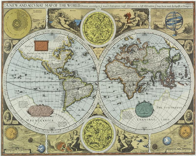 Постер Города и карты Карта мира (1616) (арт. 2539), 25x20 см, на бумагеСтаринные карты<br>Постер на холсте или бумаге. Любого нужного вам размера. В раме или без. Подвес в комплекте. Трехслойная надежная упаковка. Доставим в любую точку России. Вам осталось только повесить картину на стену!<br>