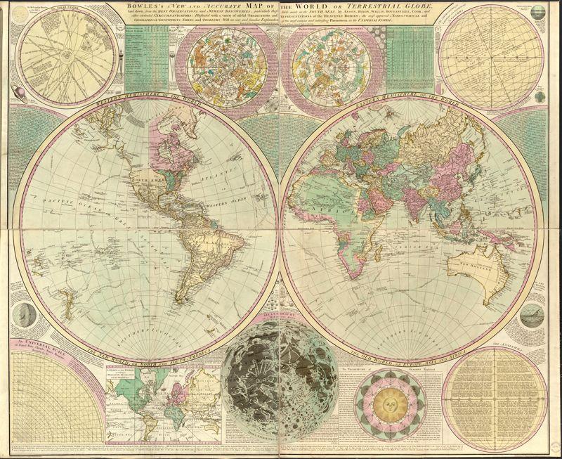 Постер Старинные карты Боулс. Карта мира (1780)Старинные карты<br>Постер на холсте или бумаге. Любого нужного вам размера. В раме или без. Подвес в комплекте. Трехслойная надежная упаковка. Доставим в любую точку России. Вам осталось только повесить картину на стену!<br>
