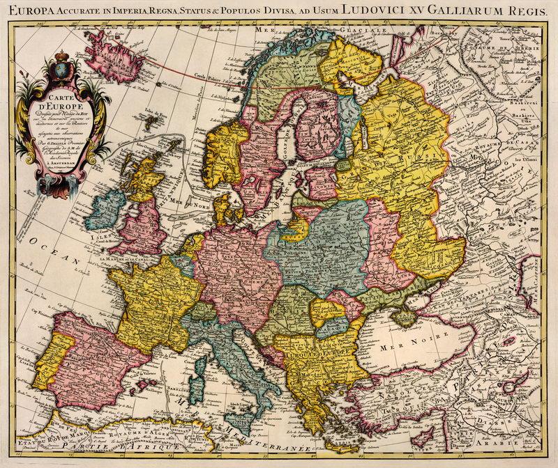 Постер Старинные карты Карта Европы (1739)Старинные карты<br>Постер на холсте или бумаге. Любого нужного вам размера. В раме или без. Подвес в комплекте. Трехслойная надежная упаковка. Доставим в любую точку России. Вам осталось только повесить картину на стену!<br>