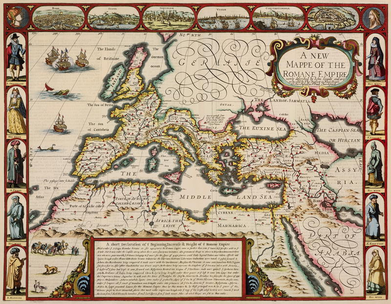 Старинные карты, картина Спид. Новая карта Римской империи (1626)Старинные карты<br>Репродукция на холсте или бумаге. Любого нужного вам размера. В раме или без. Подвес в комплекте. Трехслойная надежная упаковка. Доставим в любую точку России. Вам осталось только повесить картину на стену!<br>