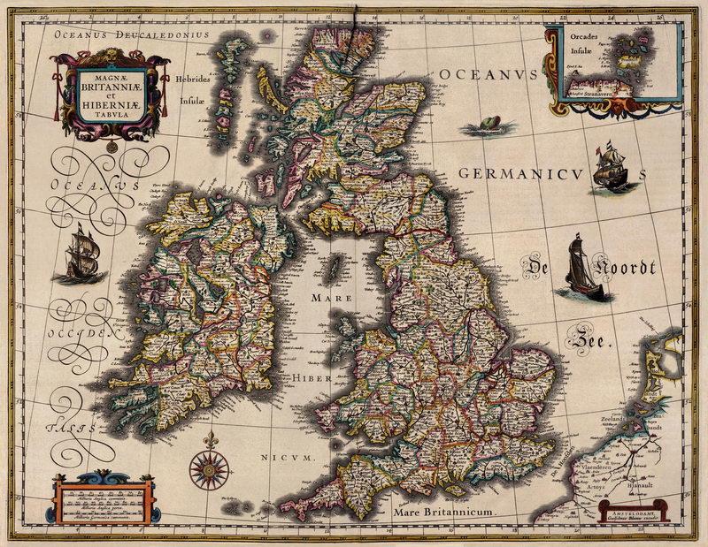 Старинные карты, картина Блау. Карта Британских островов (1631)Старинные карты<br>Репродукция на холсте или бумаге. Любого нужного вам размера. В раме или без. Подвес в комплекте. Трехслойная надежная упаковка. Доставим в любую точку России. Вам осталось только повесить картину на стену!<br>
