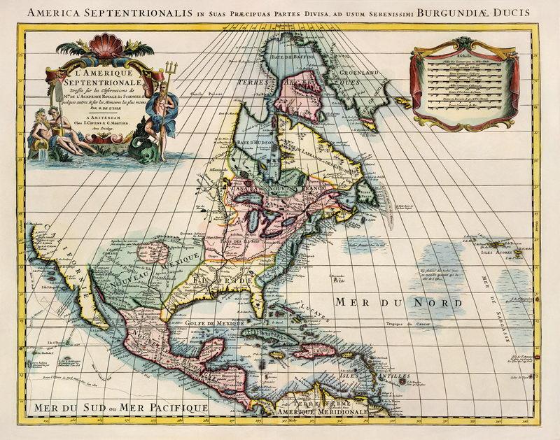 Постер Старинные карты Карта Северной Америки (1707)Старинные карты<br>Постер на холсте или бумаге. Любого нужного вам размера. В раме или без. Подвес в комплекте. Трехслойная надежная упаковка. Доставим в любую точку России. Вам осталось только повесить картину на стену!<br>