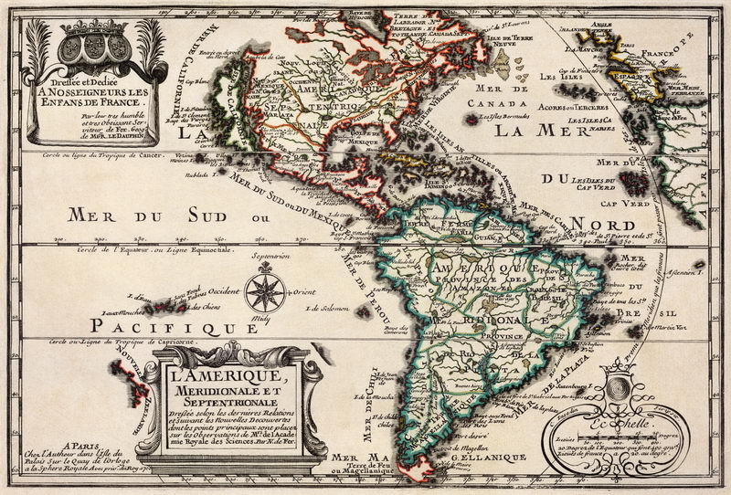 Постер Старинные карты Карта Америки (1705)Старинные карты<br>Постер на холсте или бумаге. Любого нужного вам размера. В раме или без. Подвес в комплекте. Трехслойная надежная упаковка. Доставим в любую точку России. Вам осталось только повесить картину на стену!<br>