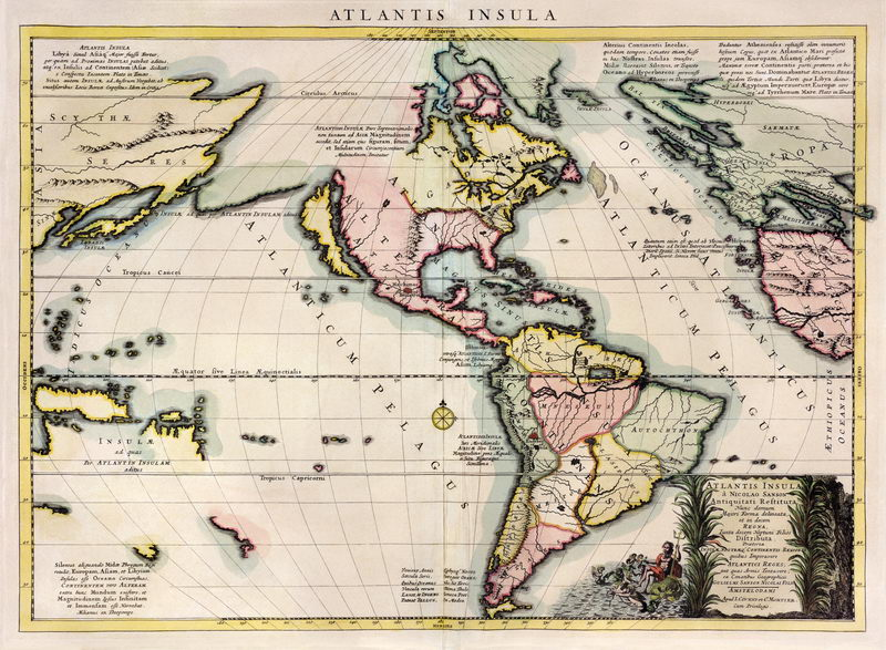 Старинные карты, картина Карта Западного полушария (1595)Старинные карты<br>Репродукция на холсте или бумаге. Любого нужного вам размера. В раме или без. Подвес в комплекте. Трехслойная надежная упаковка. Доставим в любую точку России. Вам осталось только повесить картину на стену!<br>