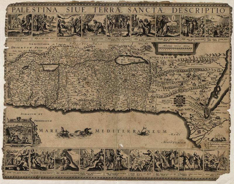 Постер Старинные карты Карта Палестины (1650)Старинные карты<br>Постер на холсте или бумаге. Любого нужного вам размера. В раме или без. Подвес в комплекте. Трехслойная надежная упаковка. Доставим в любую точку России. Вам осталось только повесить картину на стену!<br>