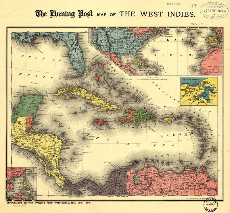Постер Старинные карты Карта Карибского бассейна (1898)Старинные карты<br>Постер на холсте или бумаге. Любого нужного вам размера. В раме или без. Подвес в комплекте. Трехслойная надежная упаковка. Доставим в любую точку России. Вам осталось только повесить картину на стену!<br>