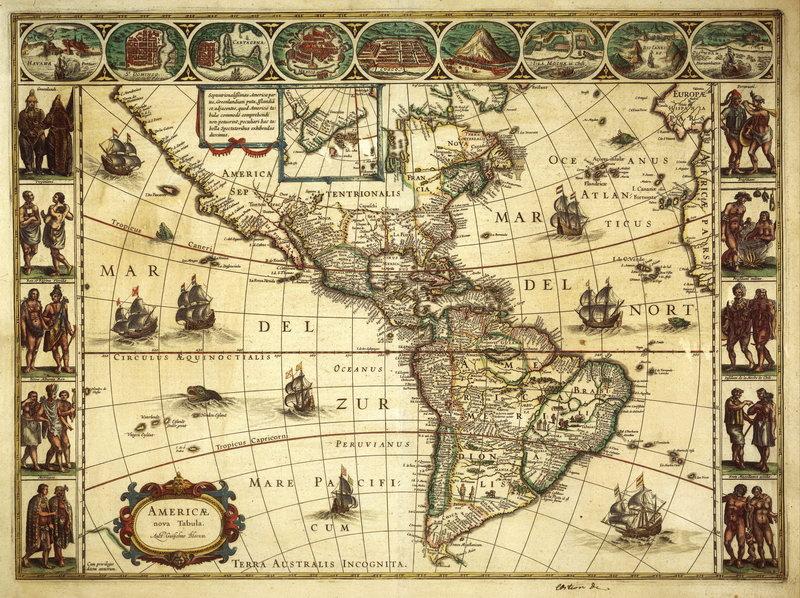 Старинные карты, картина Блау. Карта Северной и Южной Америки ( 17-й век)Старинные карты<br>Репродукция на холсте или бумаге. Любого нужного вам размера. В раме или без. Подвес в комплекте. Трехслойная надежная упаковка. Доставим в любую точку России. Вам осталось только повесить картину на стену!<br>