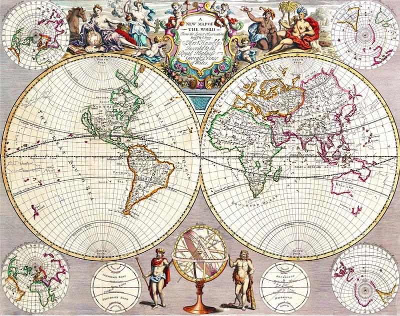 Старинные карты, картина Сенекс Джон, Новая карта мираСтаринные карты<br>Репродукция на холсте или бумаге. Любого нужного вам размера. В раме или без. Подвес в комплекте. Трехслойная надежная упаковка. Доставим в любую точку России. Вам осталось только повесить картину на стену!<br>