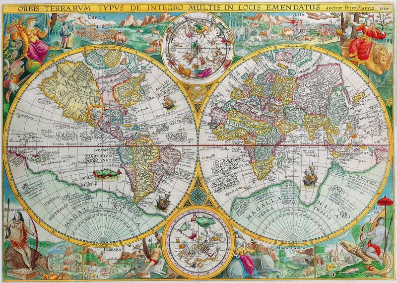 Постер Старинные карты Плансиус Петр, Карта мира (1594)Старинные карты<br>Постер на холсте или бумаге. Любого нужного вам размера. В раме или без. Подвес в комплекте. Трехслойная надежная упаковка. Доставим в любую точку России. Вам осталось только повесить картину на стену!<br>