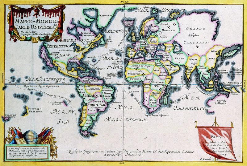 Искусство, картина Фер Николас де, Карта мира (1714), 30x20 см, на бумагеСтаринные карты<br>Постер на холсте или бумаге. Любого нужного вам размера. В раме или без. Подвес в комплекте. Трехслойная надежная упаковка. Доставим в любую точку России. Вам осталось только повесить картину на стену!<br>