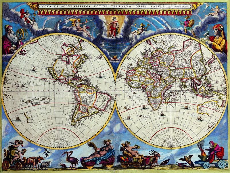 Постер Старинные карты Блау Иоанн, Карта мираСтаринные карты<br>Постер на холсте или бумаге. Любого нужного вам размера. В раме или без. Подвес в комплекте. Трехслойная надежная упаковка. Доставим в любую точку России. Вам осталось только повесить картину на стену!<br>