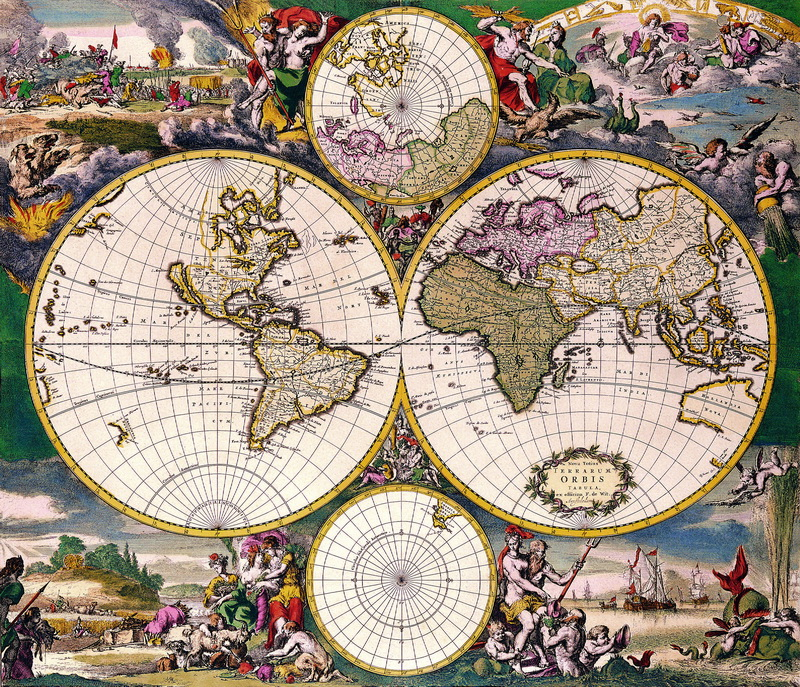 Искусство, картина Вит Фредерик де, Карта мира (1668), 23x20 см, на бумагеСтаринные карты<br>Постер на холсте или бумаге. Любого нужного вам размера. В раме или без. Подвес в комплекте. Трехслойная надежная упаковка. Доставим в любую точку России. Вам осталось только повесить картину на стену!<br>