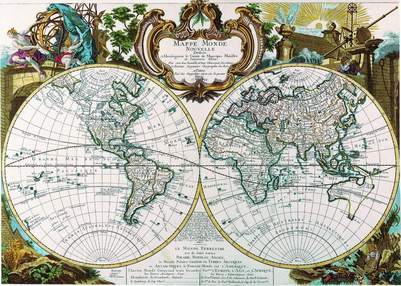 Постер Старинные карты Ле Руж Жорж Луи, Карта мира (1744)Старинные карты<br>Постер на холсте или бумаге. Любого нужного вам размера. В раме или без. Подвес в комплекте. Трехслойная надежная упаковка. Доставим в любую точку России. Вам осталось только повесить картину на стену!<br>