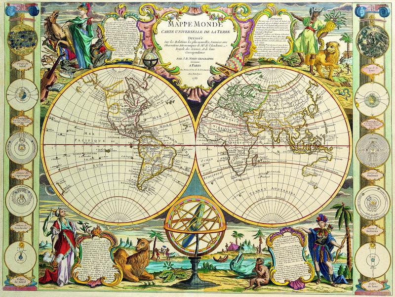 Старинные карты, картина Нолин Жан Баптист, Карта мира (1791)Старинные карты<br>Репродукция на холсте или бумаге. Любого нужного вам размера. В раме или без. Подвес в комплекте. Трехслойная надежная упаковка. Доставим в любую точку России. Вам осталось только повесить картину на стену!<br>