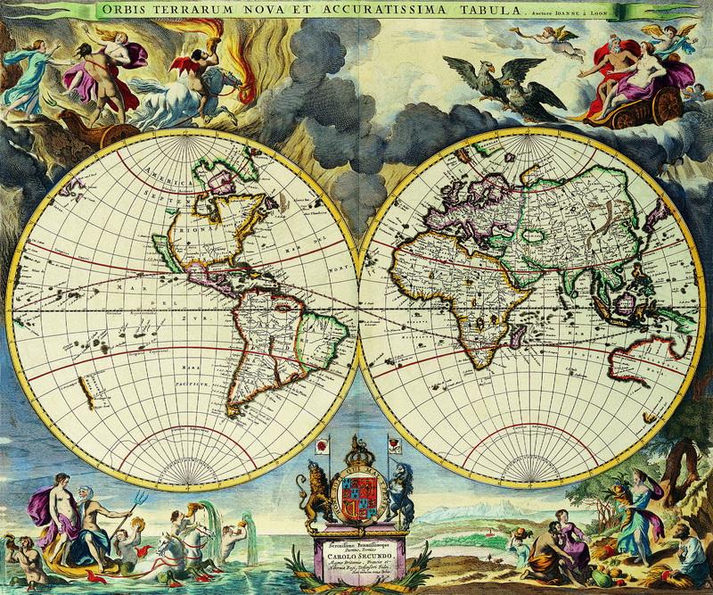 Старинные карты, картина Лун Иоанн ван, Карта мира (1666)Старинные карты<br>Репродукция на холсте или бумаге. Любого нужного вам размера. В раме или без. Подвес в комплекте. Трехслойная надежная упаковка. Доставим в любую точку России. Вам осталось только повесить картину на стену!<br>