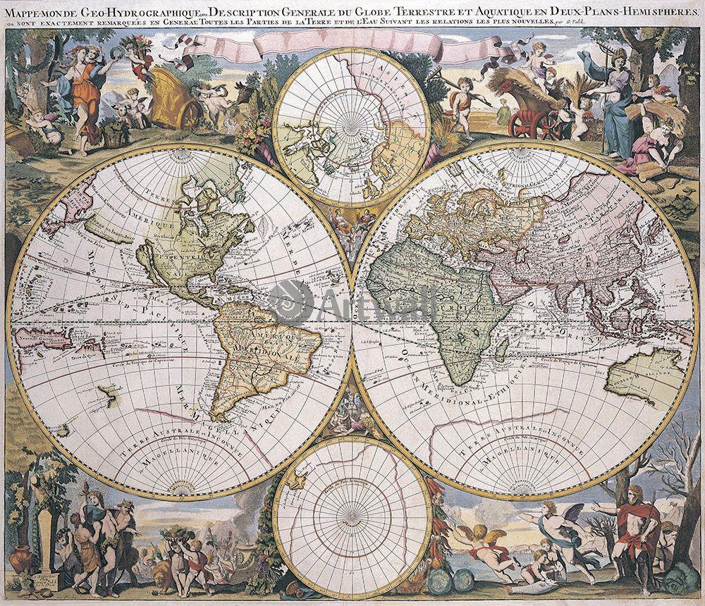 Старинные карты, картина Валк Жерар, Карта мира (1686)Старинные карты<br>Репродукция на холсте или бумаге. Любого нужного вам размера. В раме или без. Подвес в комплекте. Трехслойная надежная упаковка. Доставим в любую точку России. Вам осталось только повесить картину на стену!<br>