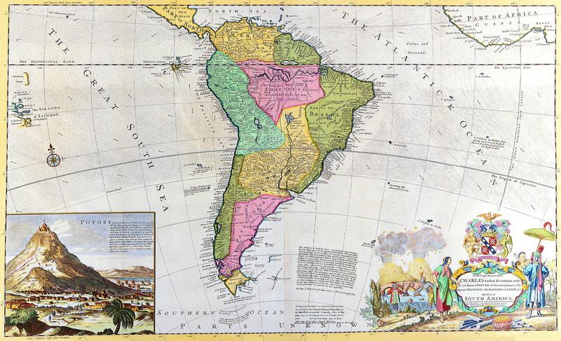 Старинные карты, картина Молл Херман, Карта Южной Америки (1730)Старинные карты<br>Репродукция на холсте или бумаге. Любого нужного вам размера. В раме или без. Подвес в комплекте. Трехслойная надежная упаковка. Доставим в любую точку России. Вам осталось только повесить картину на стену!<br>