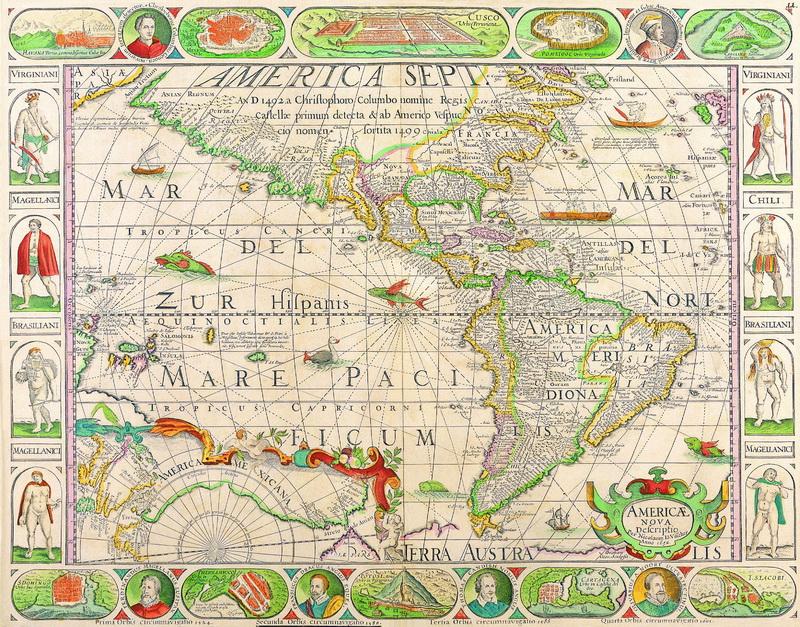 Постер Старинные карты Кир Питер ван дер, Карта Южной и Северной Америки (1652)Старинные карты<br>Постер на холсте или бумаге. Любого нужного вам размера. В раме или без. Подвес в комплекте. Трехслойная надежная упаковка. Доставим в любую точку России. Вам осталось только повесить картину на стену!<br>