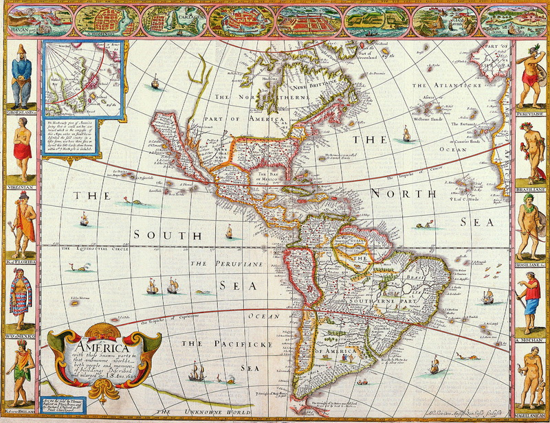 Искусство, картина Спид Джон, Карта Южной и Северной Америки (1627), 26x20 см, на бумагеСтаринные карты<br>Постер на холсте или бумаге. Любого нужного вам размера. В раме или без. Подвес в комплекте. Трехслойная надежная упаковка. Доставим в любую точку России. Вам осталось только повесить картину на стену!<br>