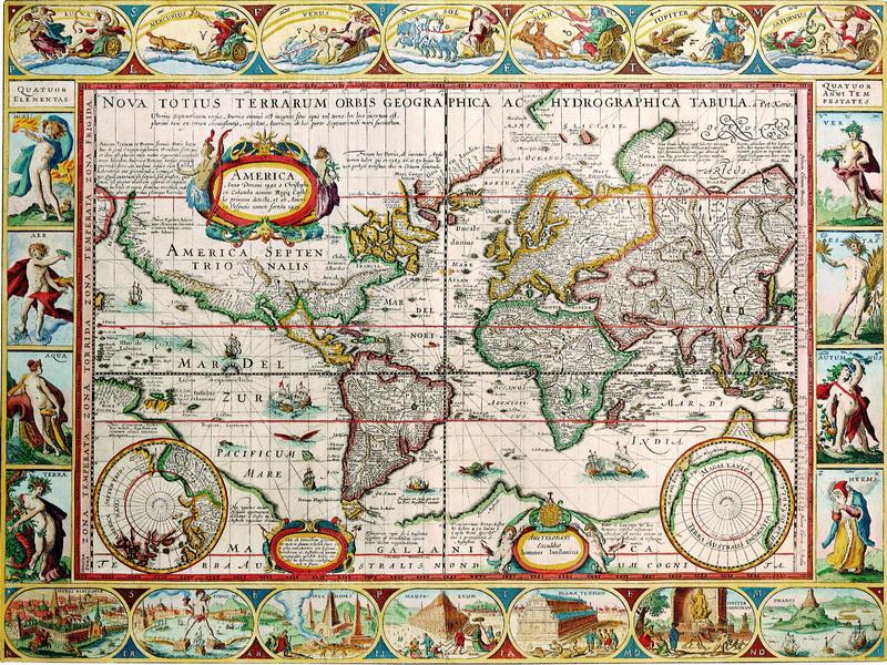 Старинные карты, картина Кир Питер ван дер, Карта мира (1608)Старинные карты<br>Репродукция на холсте или бумаге. Любого нужного вам размера. В раме или без. Подвес в комплекте. Трехслойная надежная упаковка. Доставим в любую точку России. Вам осталось только повесить картину на стену!<br>
