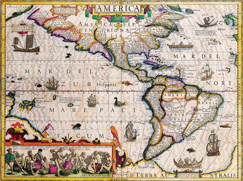 Постер Старинные карты Хондиус Йодокус, Америка (1628)Старинные карты<br>Постер на холсте или бумаге. Любого нужного вам размера. В раме или без. Подвес в комплекте. Трехслойная надежная упаковка. Доставим в любую точку России. Вам осталось только повесить картину на стену!<br>