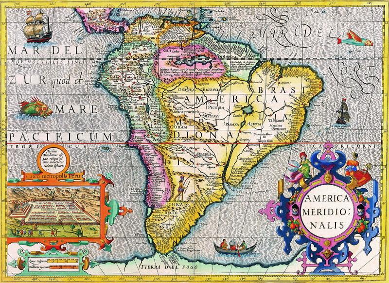 Старинные карты, картина Хондиус Йодокус, Южная Америка (1628)Старинные карты<br>Репродукция на холсте или бумаге. Любого нужного вам размера. В раме или без. Подвес в комплекте. Трехслойная надежная упаковка. Доставим в любую точку России. Вам осталось только повесить картину на стену!<br>