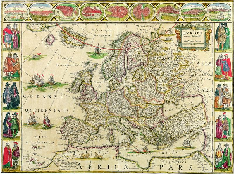 Старинные карты, картина Блау Уилльям, Европа (1660)Старинные карты<br>Репродукция на холсте или бумаге. Любого нужного вам размера. В раме или без. Подвес в комплекте. Трехслойная надежная упаковка. Доставим в любую точку России. Вам осталось только повесить картину на стену!<br>
