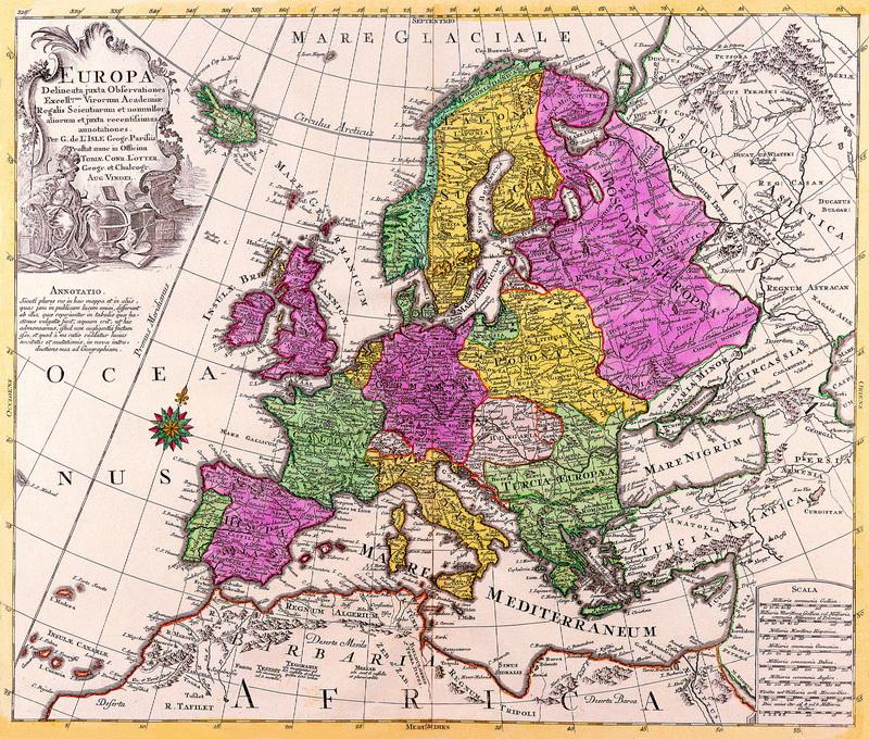 Старинные карты, картина Лоттер Тобиас Конрад, Европа (1760)Старинные карты<br>Репродукция на холсте или бумаге. Любого нужного вам размера. В раме или без. Подвес в комплекте. Трехслойная надежная упаковка. Доставим в любую точку России. Вам осталось только повесить картину на стену!<br>