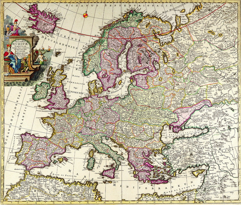 Постер Старинные карты Аллард Карл, Карта Европы (1709)Старинные карты<br>Постер на холсте или бумаге. Любого нужного вам размера. В раме или без. Подвес в комплекте. Трехслойная надежная упаковка. Доставим в любую точку России. Вам осталось только повесить картину на стену!<br>