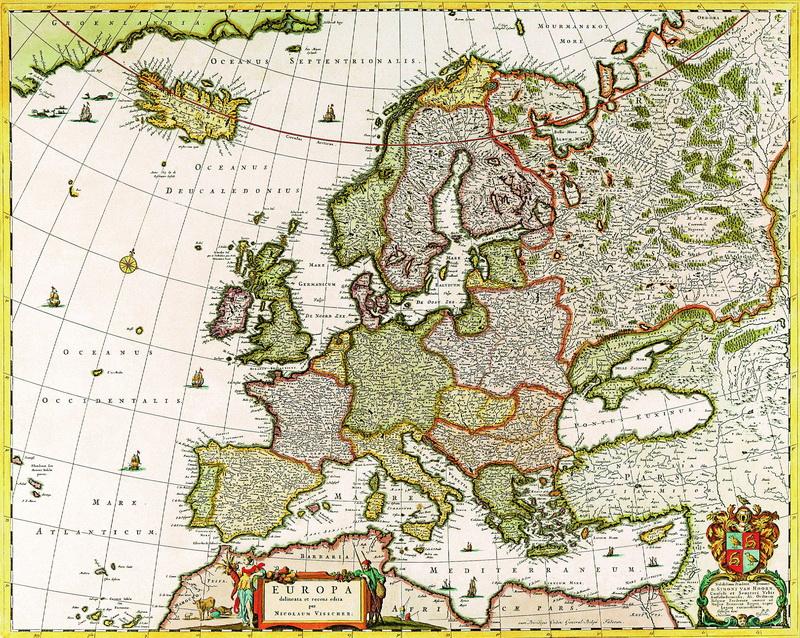 Старинные карты, картина Вишер Николаус, Карта Европы (1656)Старинные карты<br>Репродукция на холсте или бумаге. Любого нужного вам размера. В раме или без. Подвес в комплекте. Трехслойная надежная упаковка. Доставим в любую точку России. Вам осталось только повесить картину на стену!<br>