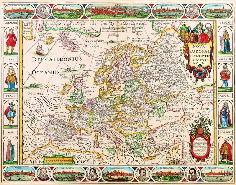 Искусство, картина Вишер Николаус, Новая Европа (1652), 25x20 см, на бумагеСтаринные карты<br>Постер на холсте или бумаге. Любого нужного вам размера. В раме или без. Подвес в комплекте. Трехслойная надежная упаковка. Доставим в любую точку России. Вам осталось только повесить картину на стену!<br>