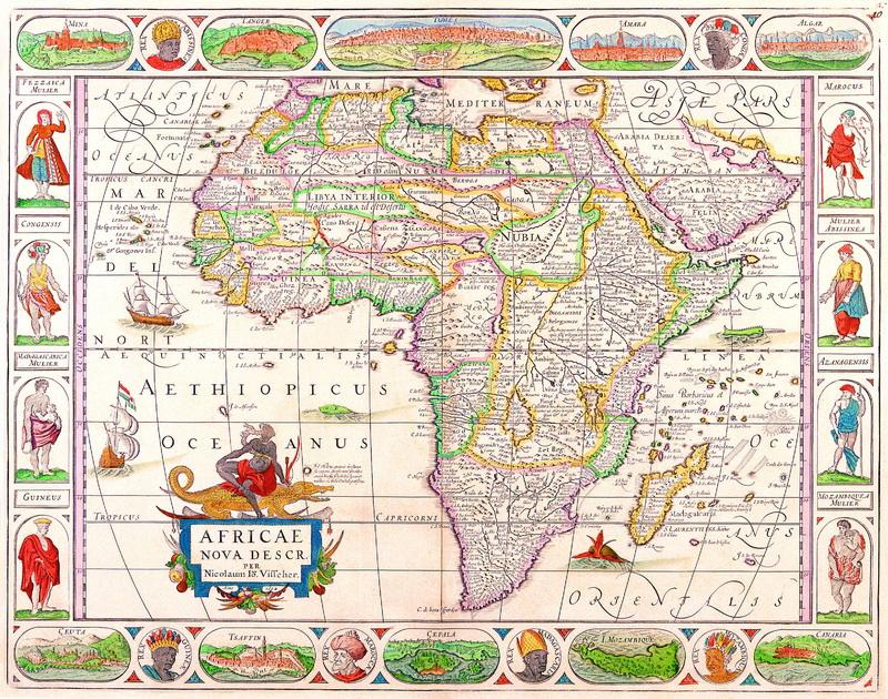 Постер Города и карты Вишер Николаус, Африка (1652), 25x20 см, на бумагеСтаринные карты<br>Постер на холсте или бумаге. Любого нужного вам размера. В раме или без. Подвес в комплекте. Трехслойная надежная упаковка. Доставим в любую точку России. Вам осталось только повесить картину на стену!<br>
