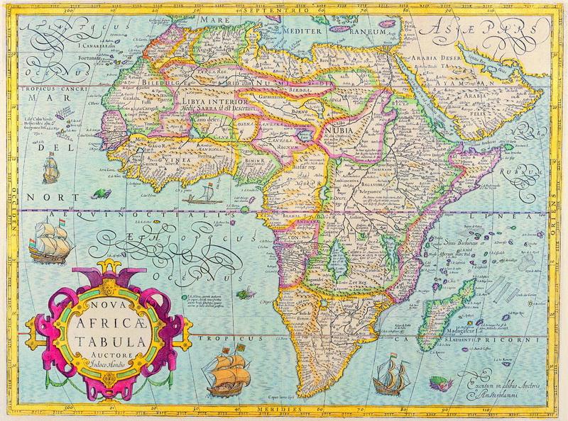 Постер Старинные карты Хондиус Йодокус, Новая карта Африки (1606)Старинные карты<br>Постер на холсте или бумаге. Любого нужного вам размера. В раме или без. Подвес в комплекте. Трехслойная надежная упаковка. Доставим в любую точку России. Вам осталось только повесить картину на стену!<br>