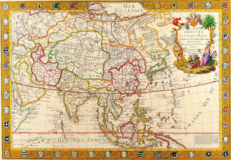 Постер Старинные карты Дане Гильем, Азия (1732)Старинные карты<br>Постер на холсте или бумаге. Любого нужного вам размера. В раме или без. Подвес в комплекте. Трехслойная надежная упаковка. Доставим в любую точку России. Вам осталось только повесить картину на стену!<br>