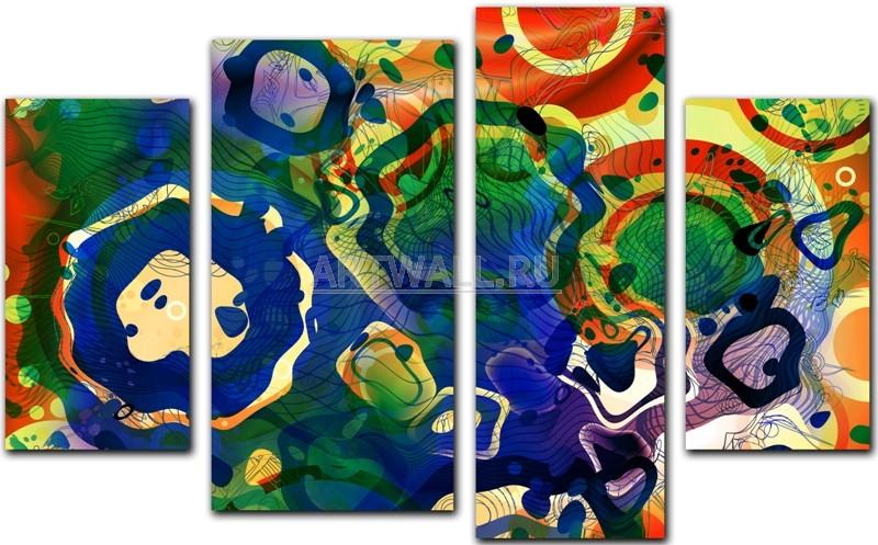 Модульная картина «Абстракция цветных окружностей»Абстракция<br>Модульная картина на натуральном холсте и деревянном подрамнике. Подвес в комплекте. Трехслойная надежная упаковка. Доставим в любую точку России. Вам осталось только повесить картину на стену!<br>